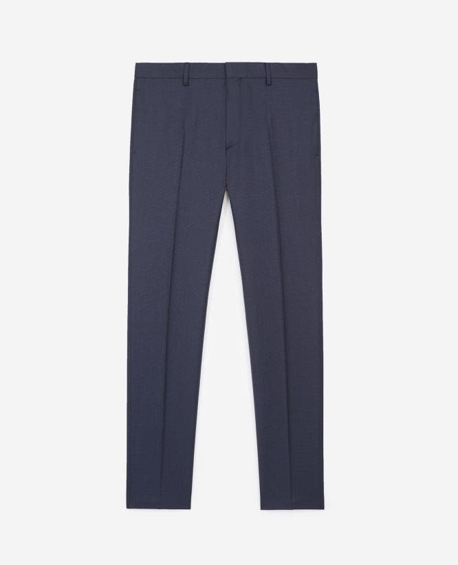 Textured slim black and blue wool trousers