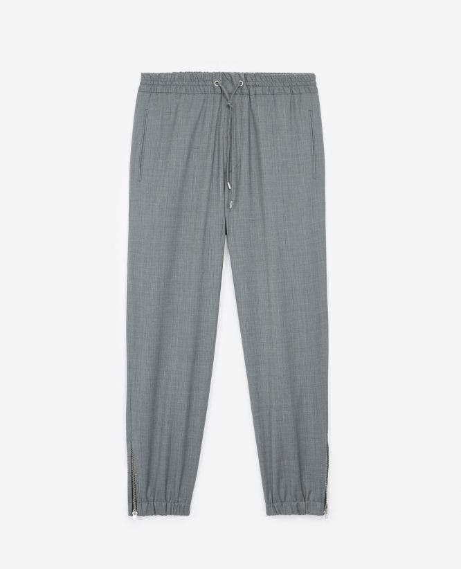 Grey wool joggers elastic waist drawstrings