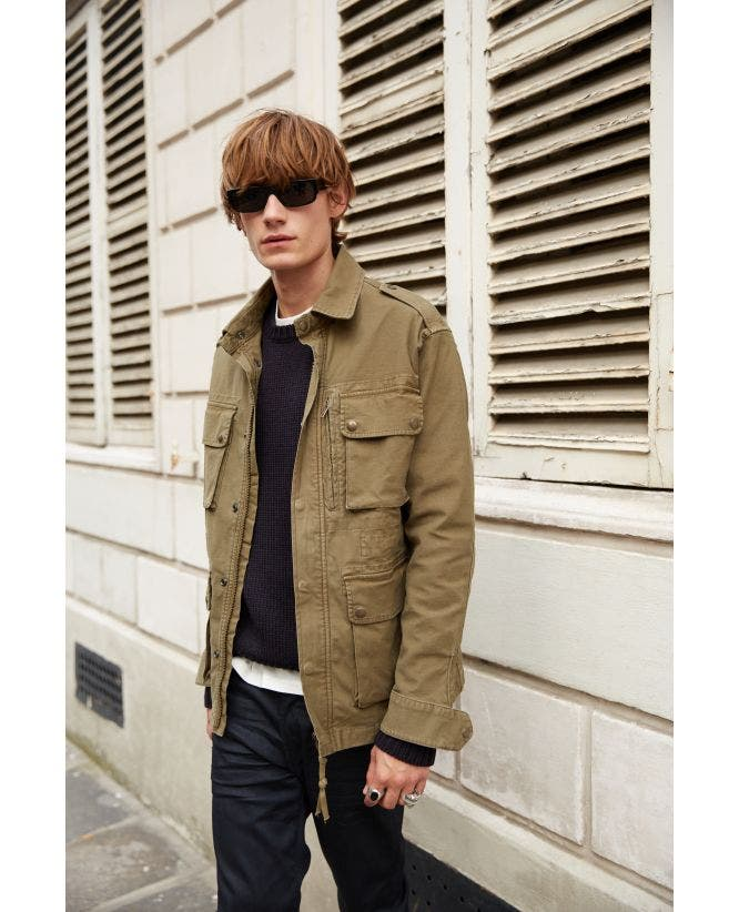 Khaki blended cotton parka coat epaulettes