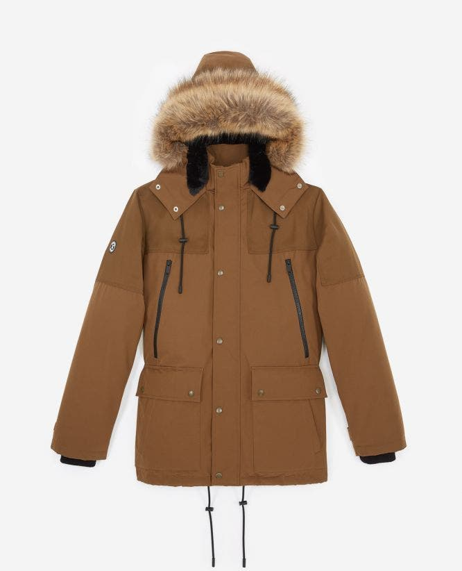 Beige short parka with hood