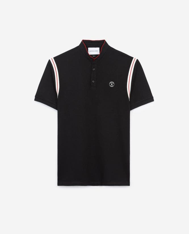 Black cotton polo shirt with  shoulder bands