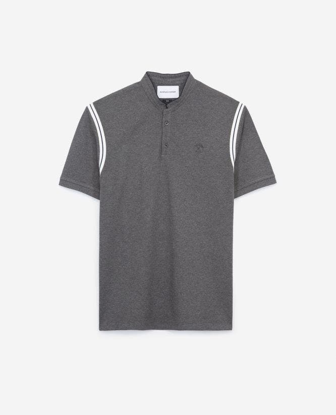 Pique charcoal grey cotton polo shirt shoulder bands