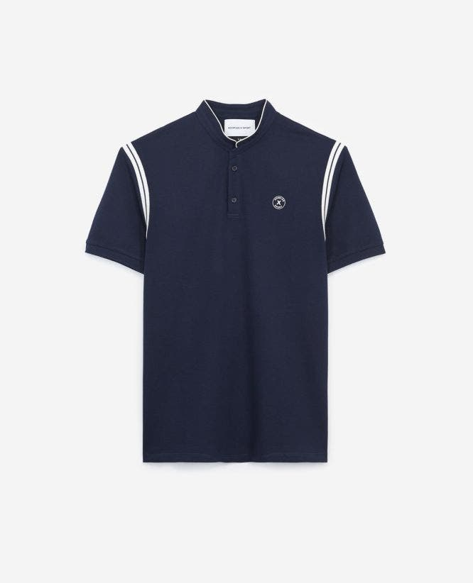 Midnight blue cotton polo shirt  contrasting bands