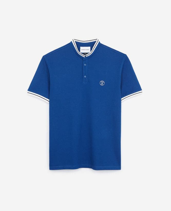 Blue cotton pique polo shirt contrasting print