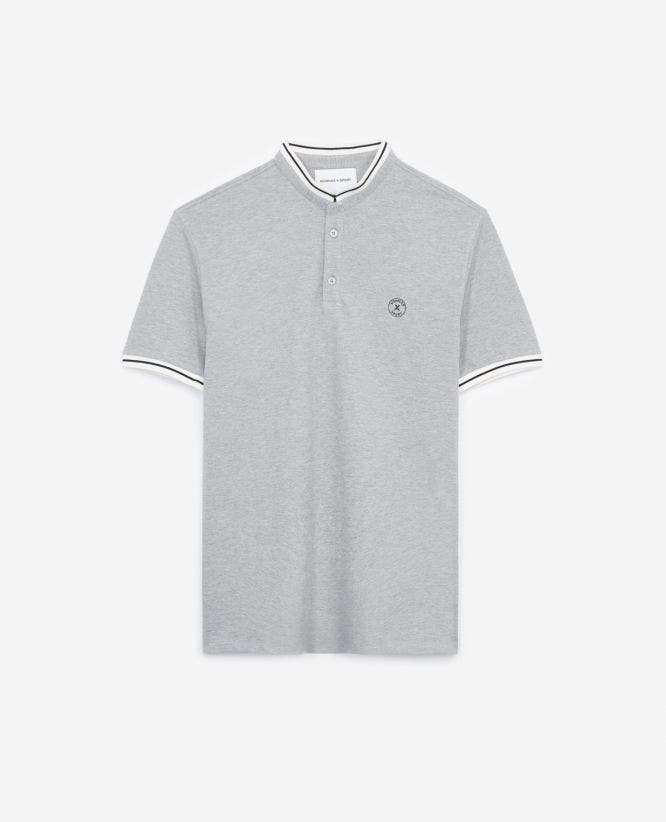 Grey cotton polo shirt with stand-up collar
