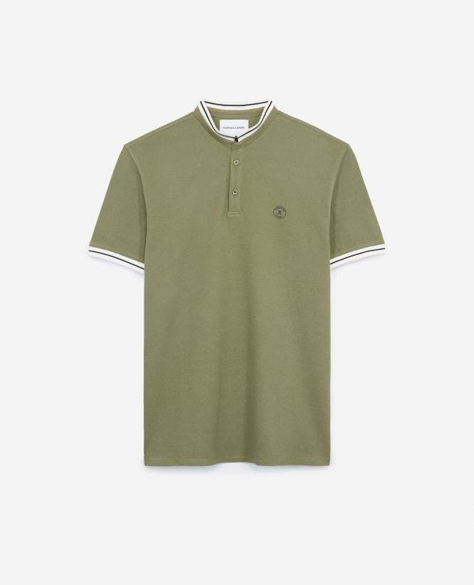Khaki cotton polo shirt with stand-up collar