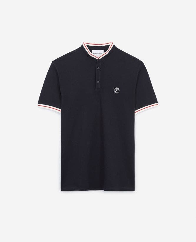 Blue cotton polo shirt with rubber logo