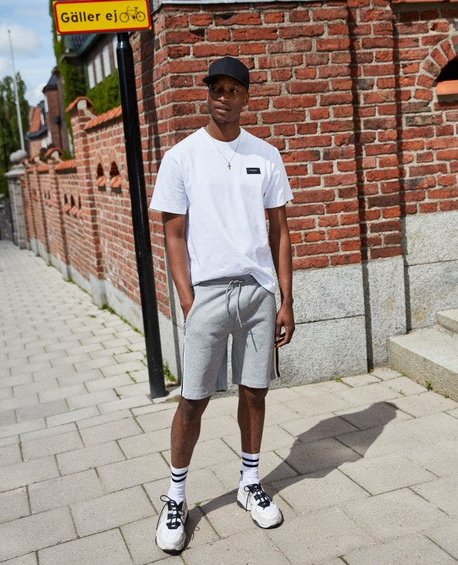 Two-tone band light grey cotton shorts