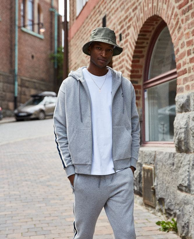 Fleece heather grey sportswear jacket