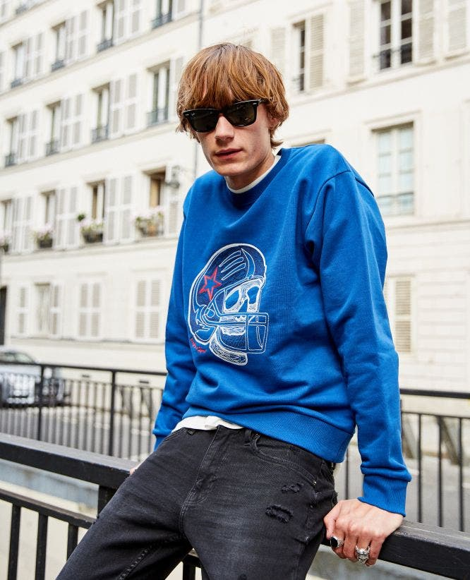 Cotton embroidered blue sweatshirt