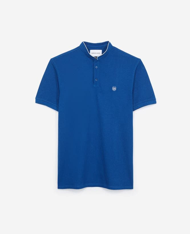 Pique cotton white detail fitted blue polo shirt