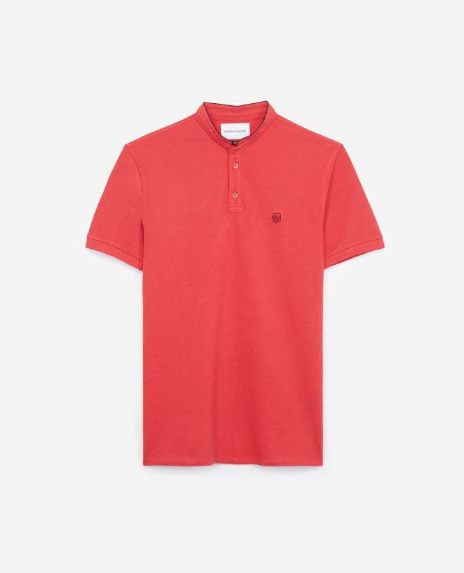 Slim-fit pique burgundy red cotton polo shirt