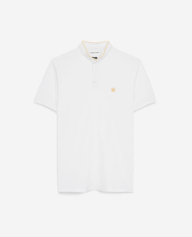 Yellow cotton polo shirt with officer collar