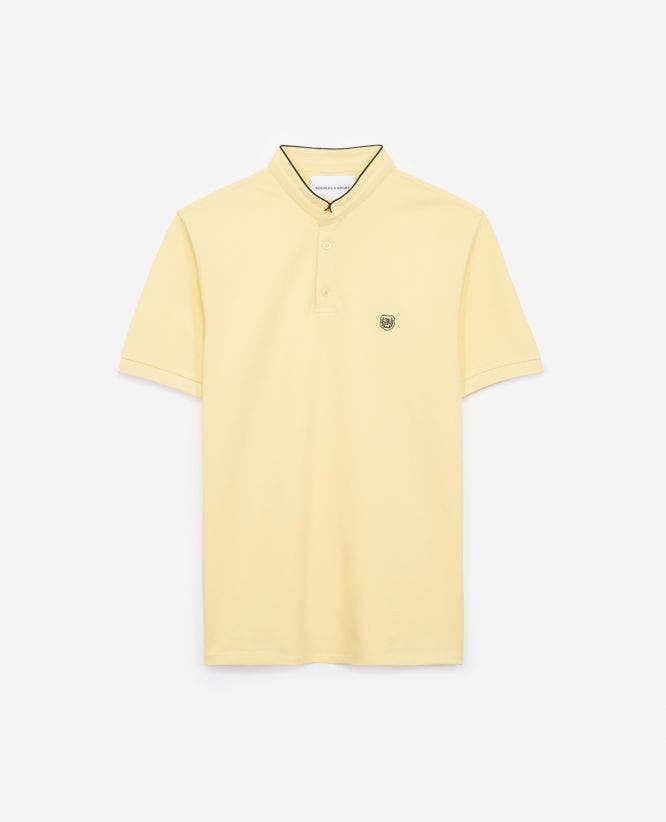 Embroidered yellow polo shirt with stand-up collar