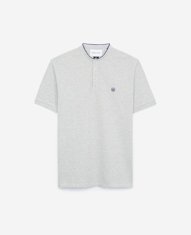 Embroidered grey polo shirt with stand-up collar