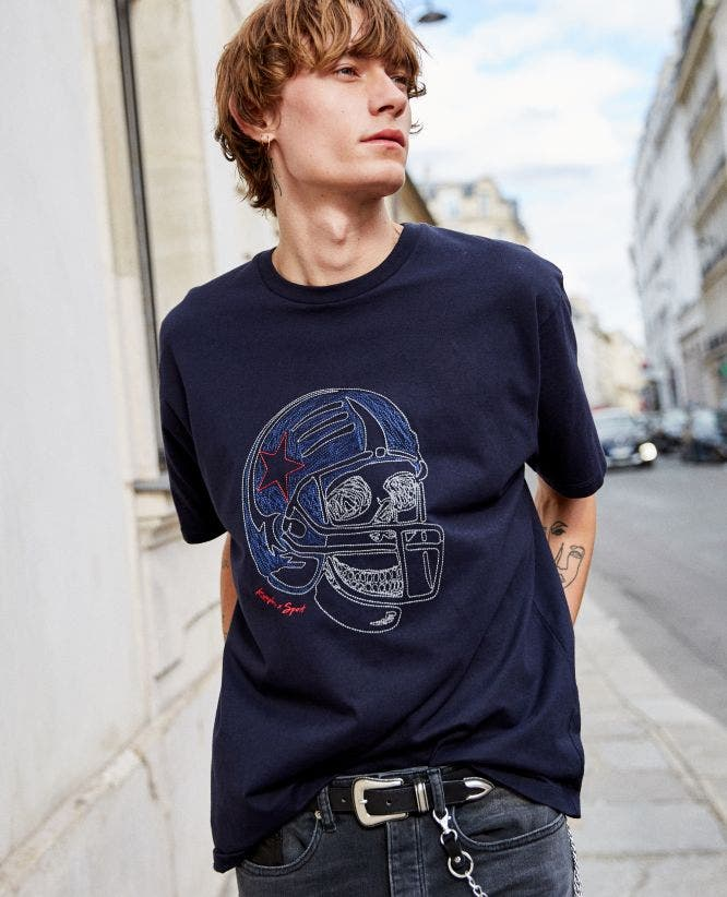 Midnight blue jersey T-shirt skull embroidery