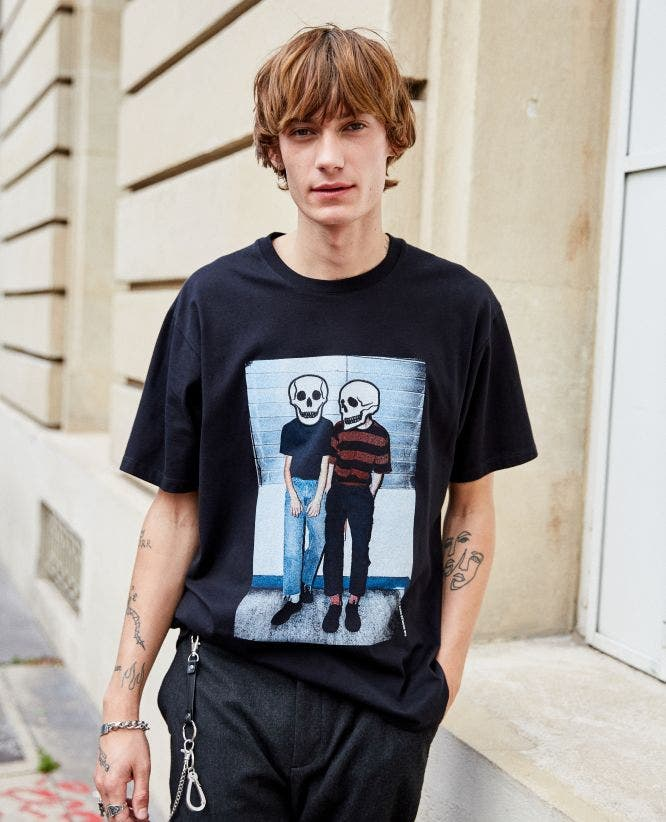 Cotton embroidered printed black T-shirt