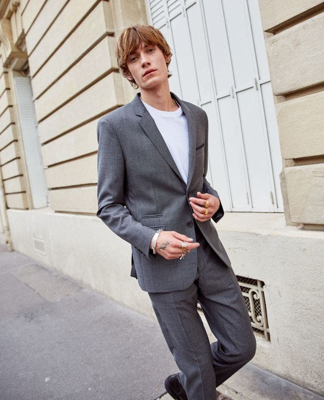 Two-button grey wool formal jacket