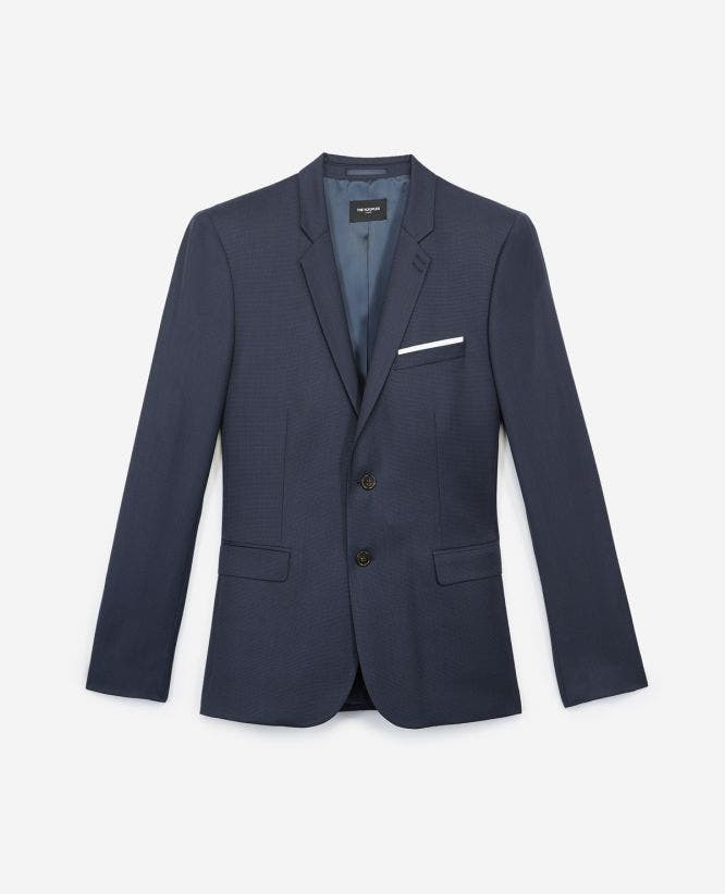 Slim-fitting formal blue wool jacket