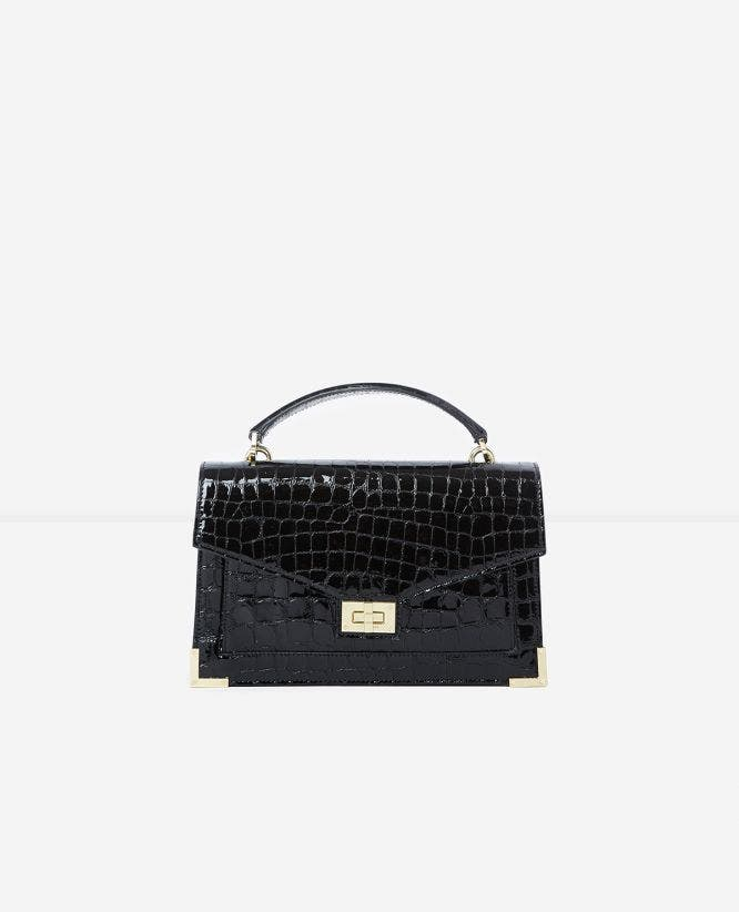 Medium Emily black crocodile handbag