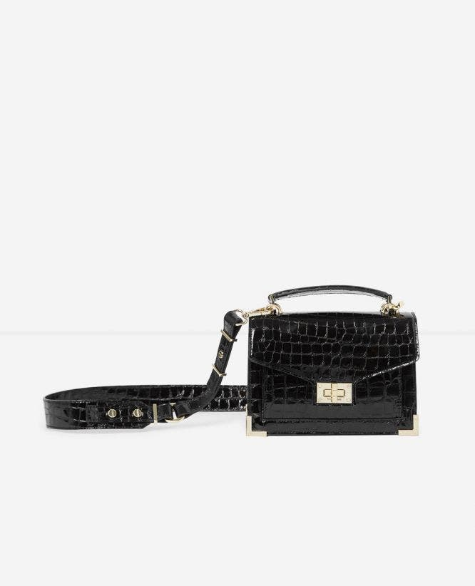 Black Emily mini crocodile handbag