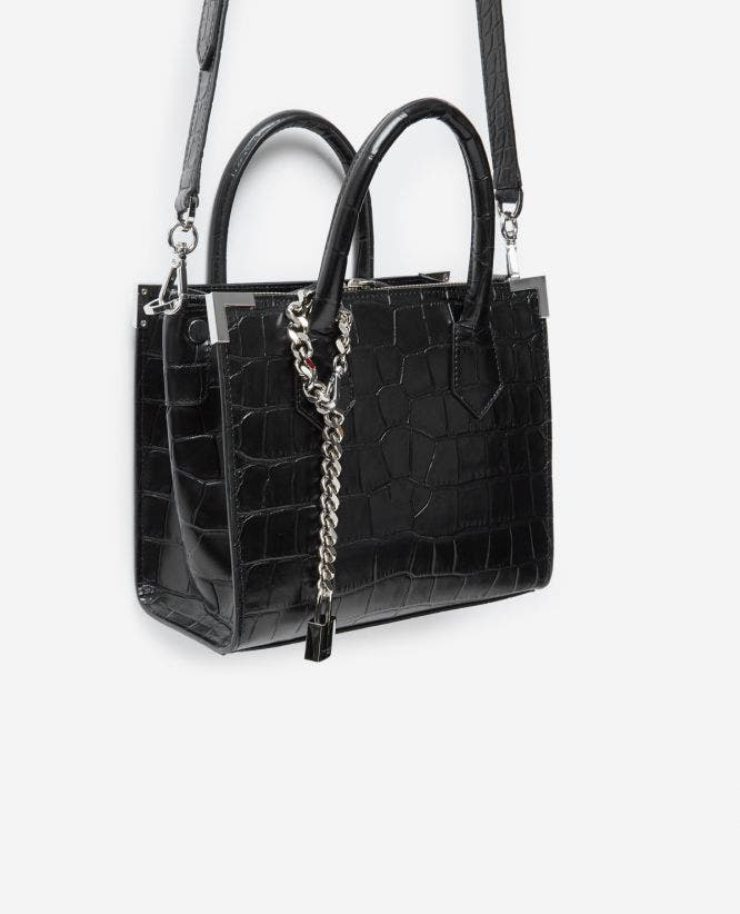 Medium Ming black vintage crocodile bag