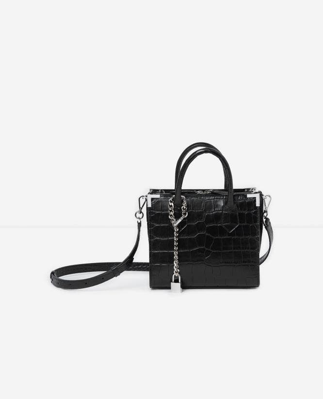 Sac croco vintage noir medium Ming