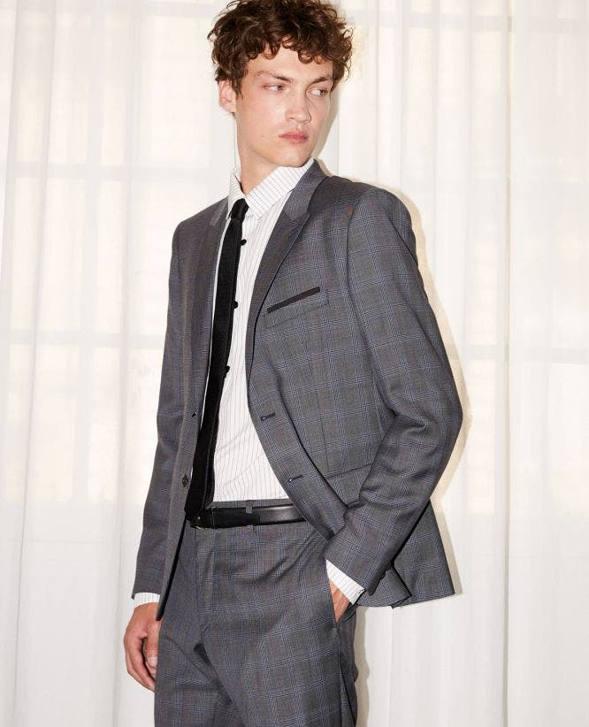 Grey Prince-of-Wales wool formal jacket