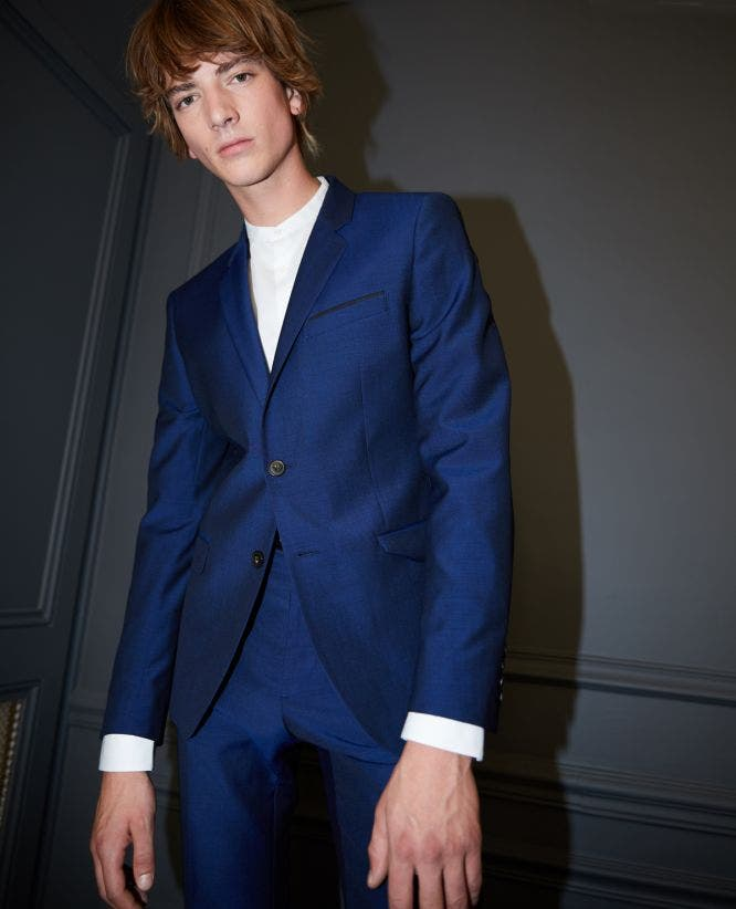 Blue wool blend formal jacket