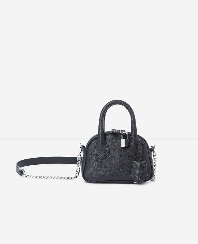 Black leather nano bag Irina by The Kooples