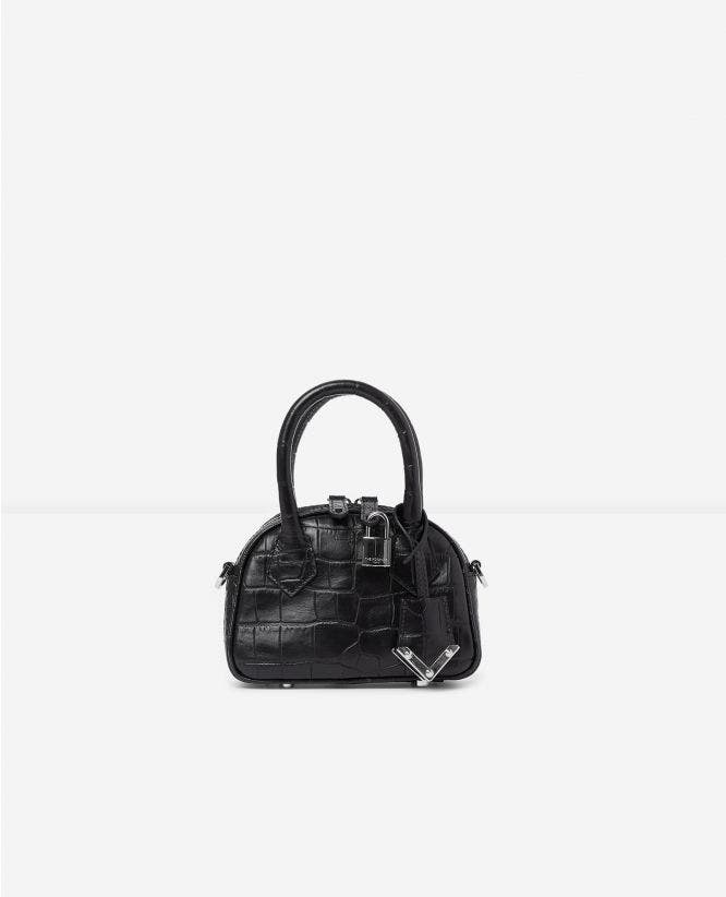 Sac nano Irina by The Kooples croco noir métallerie argentée