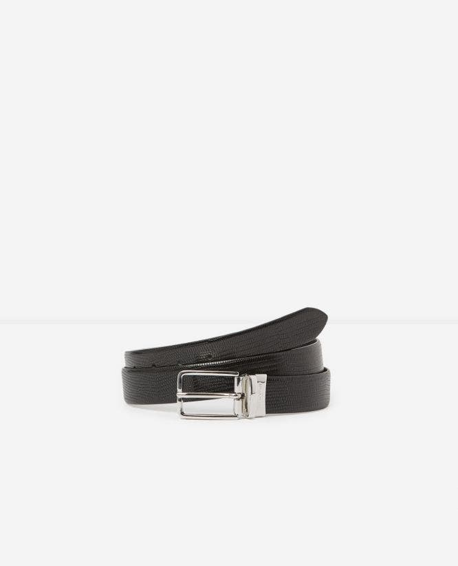 Reversible black leather belt with basic buckle