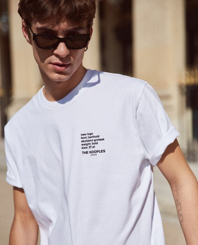 T-shirt blanc avec nouveau logo THE KOOPLES PARIS