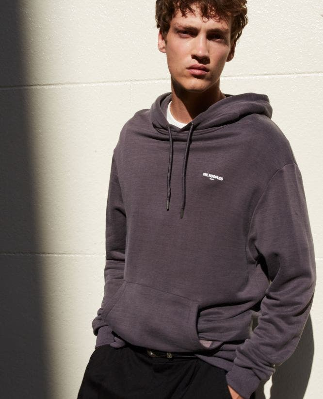 Gray sweatshirt with hood and logo