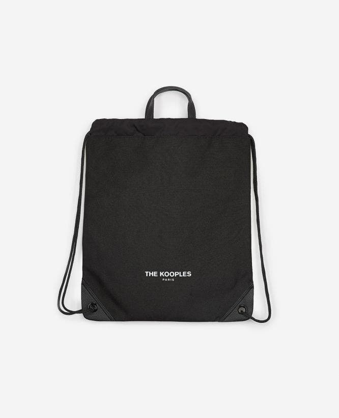 Dual-material black backpack with drawstring