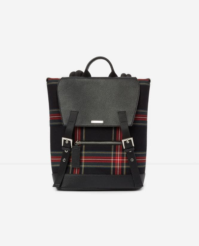 Sac à dos cuir et tartan graphique Zayn by The Kooples