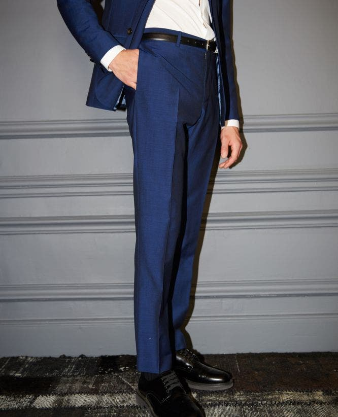 Navy blue wool suit trousers