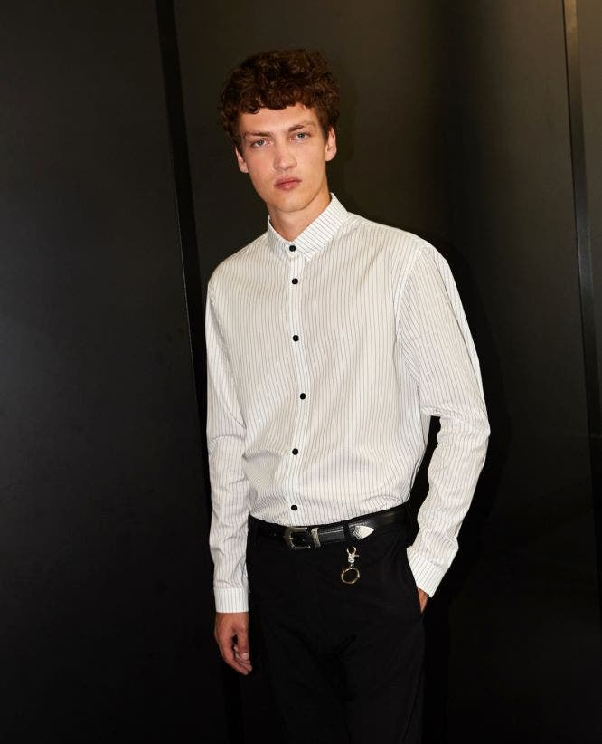 White cotton slim-fit shirt with stripes