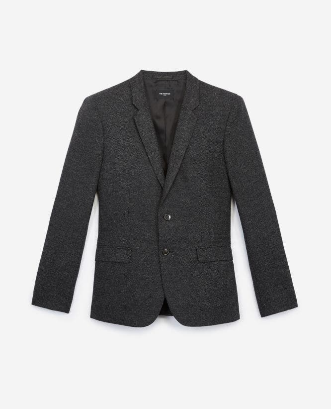 Black wool blazer with herringbone motif