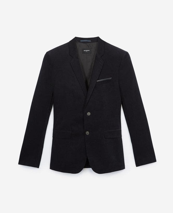 Formal blue velvet jacket, slim fit