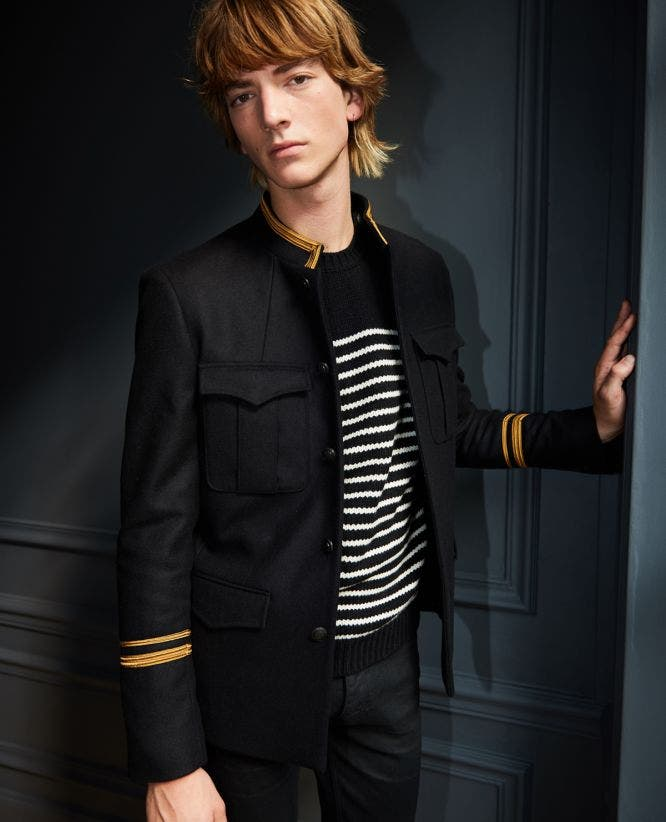 Stripe officer collar black wool jacket