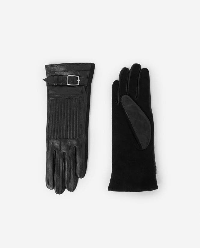 Black leather glove with cuff buckle