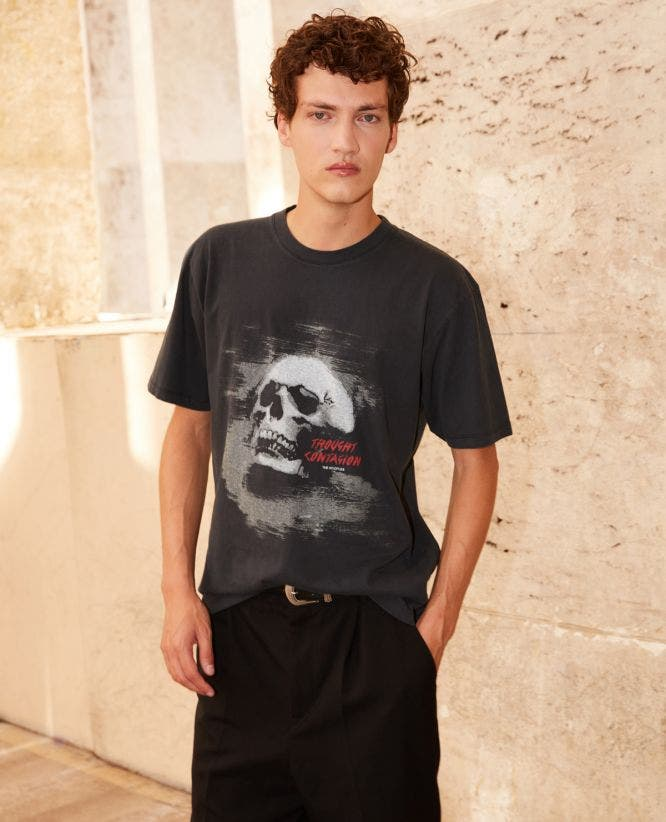 Printed black cotton T-shirt with skull