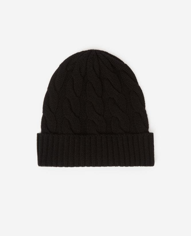 Wool black beanie with braided knit detailing