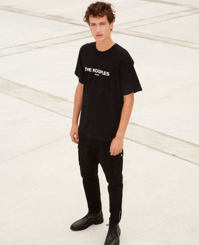 Printed black jersey T-shirt cotton