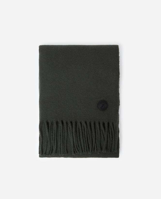 Khaki cashmere and wool scarf with fringing