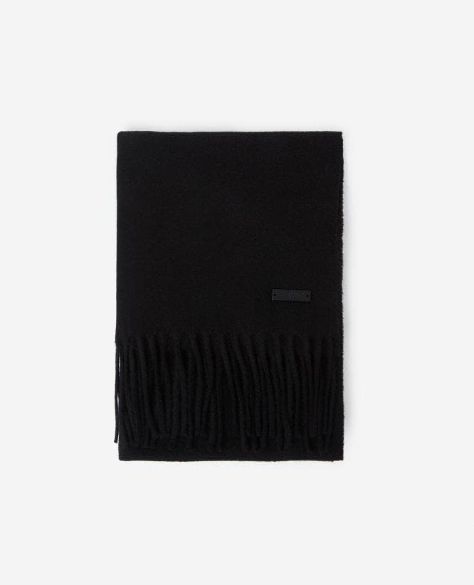 Black wool scarf with fringing and metal plate