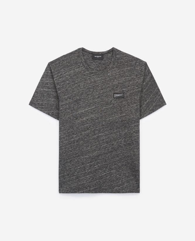 Grey T-shirt in cotton & wool, leather detail