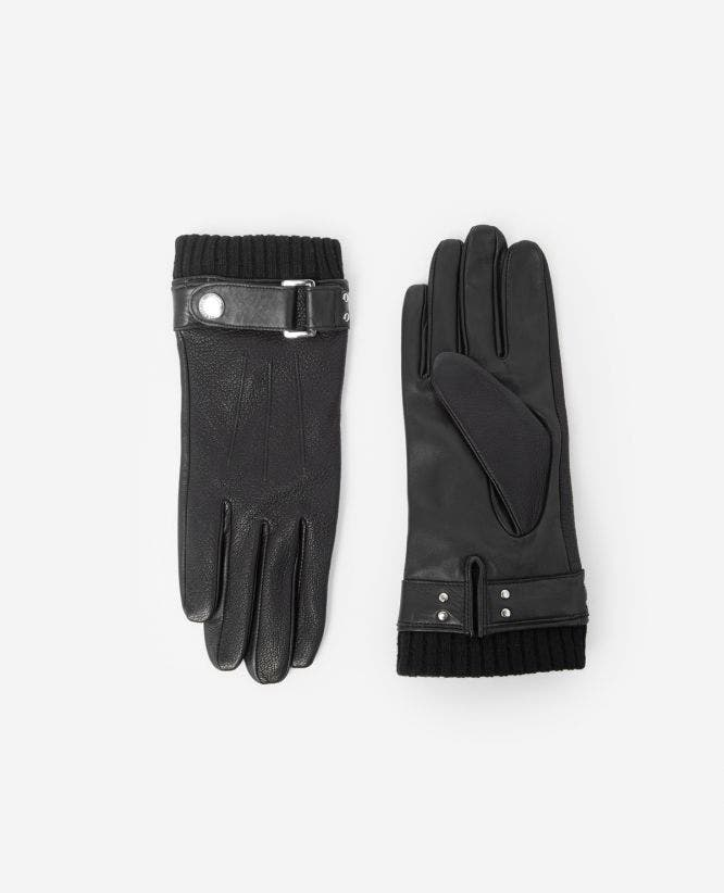 Adjustable black leather gloves w/wool cuffs