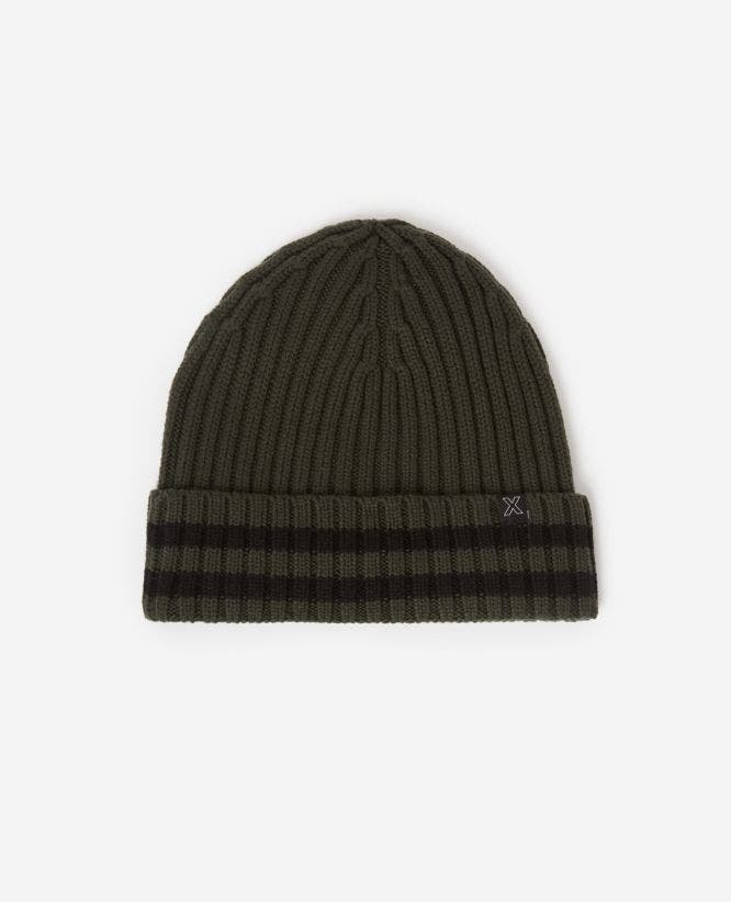 Wool khaki beanie with large braids